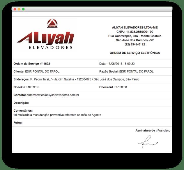 Aliyah Elevadores é uma empresa que utiliza a função de Ordem de Serviço Digital do Contele GE