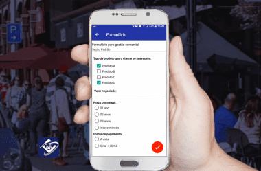 Gestão comercial utilizando aplicativo Contele com formulário