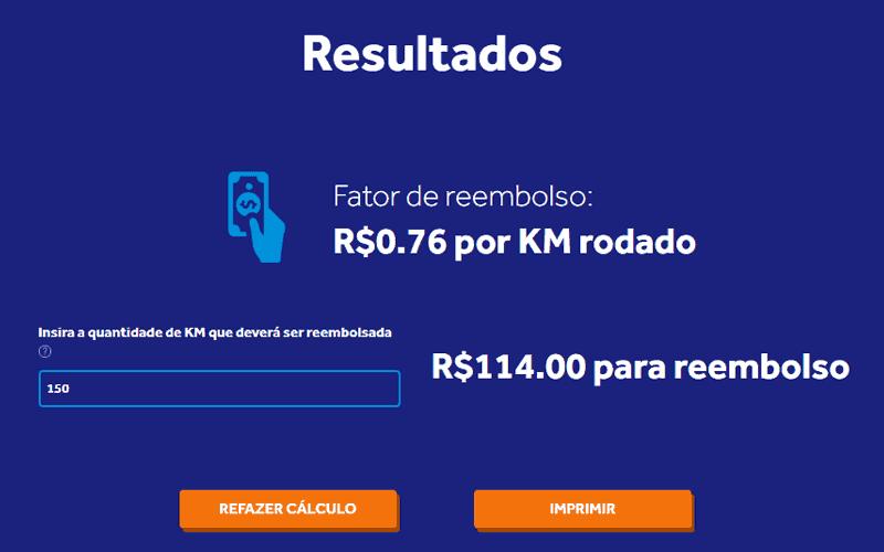 Calculadora de Reembolso por KM Rodado: Fator de Reembolso