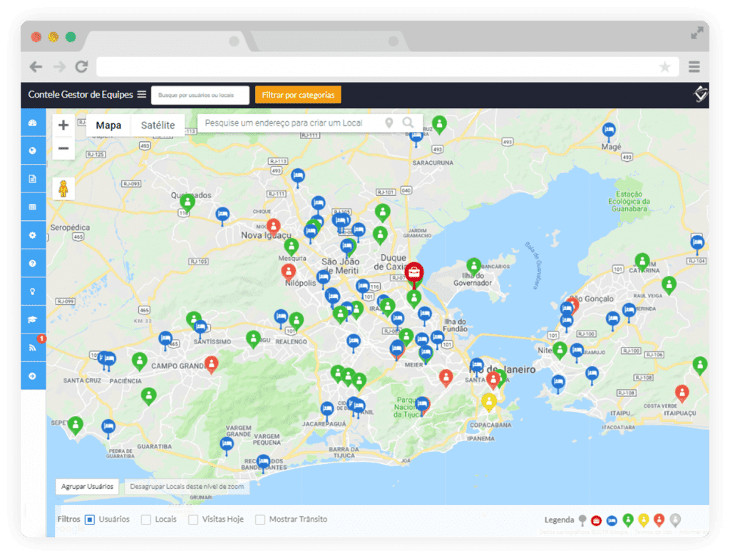 Monitoramento da Equipe de Vendas no Mapa